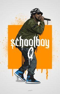Art-Poster Rap and hip-hop - Schoolboy, by Bokkaboom Schoolboy Q, Arte Cholo, Mode Hip Hop, Rap Wallpaper, Chill Wallpaper, Curry Wallpaper, Rapper Art, Dope Wallpapers, Hip Hop Artists