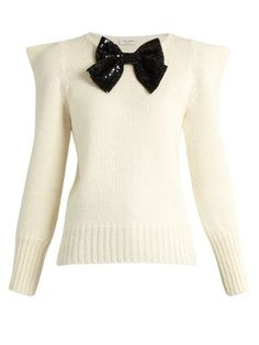 Bow-embellished peak-shoulder sweater | Saint Laurent | MATCHESFASHION.COM