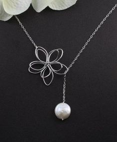 Wire wrapped flower and pearl bead necklace. Craft ideas from LC.Pandahall.com | Necklace 2 | Pinterest by Jersica