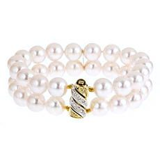 A 9 x 9.5 mm Japanese Akoya double strand pearl bracelet with 14kt. yellow gold diamond clasp in 7 inch length. Available for purchase online at www.leonardojewelers.com and in our Red Bank, NJ and Elizabeth, NJ stores.