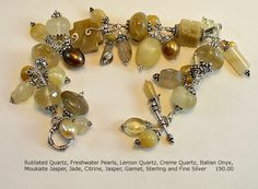 Rutilated Quartz and Sterling Silver Bracelet; Handmade and one of a kind by A. Denise Rollings-Martin  www.lilygirlart.com    $190.00