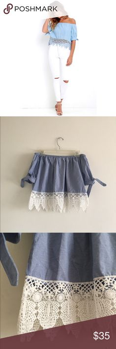 Chambray Lace Top Off the shoulder chambray top with Lace hem; NOT ZARA Zara Tops