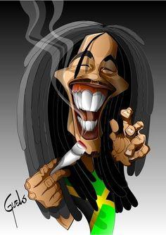 Bob Marley by Guelo Bob Marley Painting, Bob Marley Art, Dope Cartoon Art, Black Cartoon, Bob Marley Dibujo, Bob Marley Smoking, Rasta Art, Reggae Art, Bob Marley Pictures