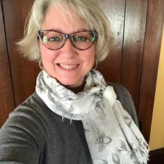 Ya gotta love a good scarf, right? I love the simple gray-on-white if this one. And that bee! Super sweet. 🐝 I've got 3 gray top combos I can wear it with, if I choose this weekend. It will keep that #windycity chill out...or instantly raise the style-factor on a casual top. Win win! Choose Me, Grey Top, Boss Lady, Casual Tops, Chill, My Love, Bee, Chicago, Gray