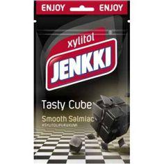 Xylitol Jenkki Tasty Cube Smooth Salmiac purukumi 70g Cube, Smooth, Tasty, Signs, Shop Signs, Sign, Dishes