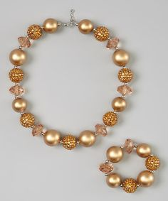 Loving this Gold Bead Chunky Necklace & Bracelet on #zulily! #zulilyfinds