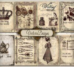 Vintage Memories ATC vintage images digital by VectoriaDesigns