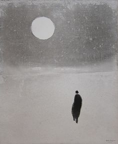 peaceful - walk in the snow on a moonlight night. Love this Japanese interpretation!