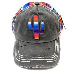Serape-Colored CACTUS Embroidery on Vintage Style 0f115699fc13