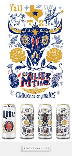 Es Miller Time can illustration. on Behance... - a grouped images picture - Pin Them All