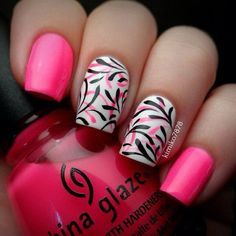 China Glaze Pink Nails with Designs.