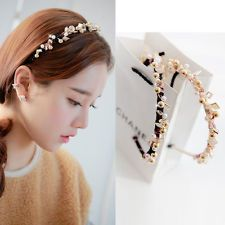[Party Queen]  Beads Flower Headband KPOP Style Rhinestone Pearl 4x_H002