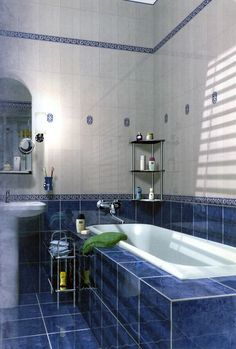 Bathroom Tile Ideas Blue And White royal blue subway tile is offsetthe white porcelain and grout