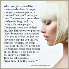 Lessons Learned in Life | Sometimes you just need to let go.