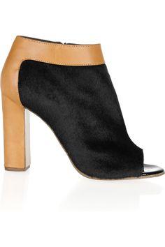 Chloé|Calf hair and leather peep-toe ankle boots|NET-A-PORTER.COM