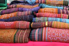 Colorful Thai textiles from Chiang Mai, Thailand
