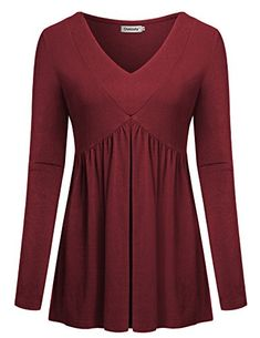 95d6548e3b367d Shop a great selection of Ouncuty Women Fall Long Sleeve V Neck Aline Tunic  Shirt Casual Empired Waist Top. Find new offer and Similar products for  Ouncuty ...