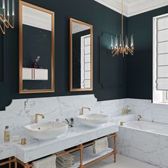 Dark And Sexy Bathroom 29 Guest Bathroom Ideas to 'Wow' Your Visitors 28 Bathroom Wall Decor Ideas to Increase Bathroom's Value wall Dark Bathrooms, Guest Bathrooms, Amazing Bathrooms, Dream Bathrooms, Hotel Bathrooms, Luxury Bathrooms, Art Deco Bathroom, Bathroom Interior, Modern Bathroom