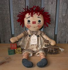 Primitive Raggedy Ann Annie Doll OLD TOYS EPATTERN by tdpainting
