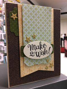 Card with banners, label and stars, Make a Wish, MFT Blueprints 13 & 24 Die-namics - Stjernesus design