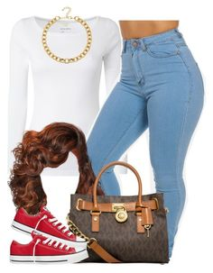 """""""."""" by trillest-queen ❤ liked on Polyvore featuring White Stuff, Adele Marie, MICHAEL Michael Kors and Converse"""