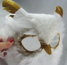 """Long White Feather Owl Mask """"Hedwig"""" Gold Tip White Feathers with Gold Sparkle Accents / Woodland / Halloween / Masquerade / LyonsHeart"""