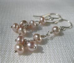 Beaded blush pink freshwater pearls wire wrapped sterling