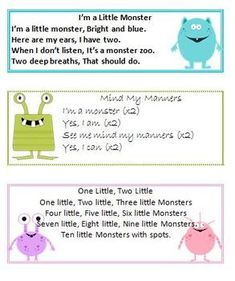 5 Monster Themed Songs with clip art from . If you havn't visited thier website, please do. Laura is awesome and her graphics are so cute (see the name)! :D God bless. Please rate, I am new to TPT and would like to know what you think. Songs For Toddlers, Lesson Plans For Toddlers, Kids Songs, Kindergarten Songs, Preschool Music, Preschool Teachers, Monster Activities, Preschool Activities, Monster Crafts