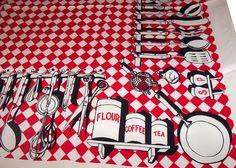 Vintage 1950s Picnic BBQ Grilling Tablecloth Novelty by PinkyAGoGo, $49.00