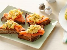 Smoked-Salmon Scramble  Heat 1 tablespoon butter in a nonstick skillet over medium-high heat. Add 2 beaten eggs, 2 tablespoons cream cheese, 2 teaspoons chopped chives, and salt and pepper. Whisk until just set. Serve on toasted whole-grain bread with smoked salmon.