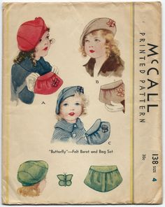 Vintage Sewing Pattern McCall 138 Childs Butterfly Beret Hat and Bag Purse Hat Patterns To Sew, Childrens Sewing Patterns, Mccalls Patterns, Vintage Sewing Patterns, Doll Patterns, Clothing Patterns, Butterfly Felt, Patron Vintage, Retro Mode
