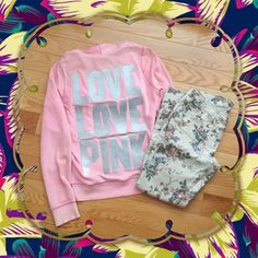 "VS Pink Hoodie VS pink hoodie with shimmery silver ""Love Love Pink"" on the back. Some minor staining and discoloration on the sleeve cuffs. Only what is stated in the title is for sale. I do not trade and all comments asking will be ignored. Victoria's Secret Jackets & Coats"