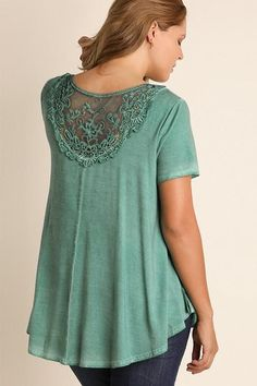 Dreamy Lace Turquoise Top | Plus