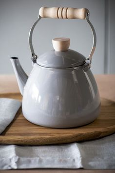 Grey Enamel Stove Kettle - The Forest & Co. Grey Enamel Stove Kettle - The Forest & Co. Amazing Grays, Range Cooker, Cast Iron Cookware, Brewing Tea, Kitchen On A Budget, Fun Cooking, Smoker Cooking, Wooden Handles, Hygge