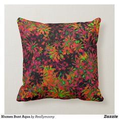 Blumen Bunt Aqua Kissen Designs, Bunt, Aqua, Throw Pillows, Welcome Home, Water, Toss Pillows, Cushions, Decorative Pillows