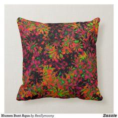 Blumen Bunt Aqua Kissen Designs, Bunt, Aqua, Throw Pillows, Welcome Home, Water, Toss Pillows, Cushions, Decorative Pillows