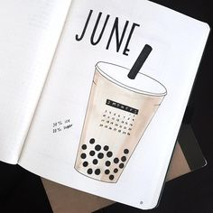 Bullet journal monthly cover page, June cover page, bubble tea drawing. | @amy.studies