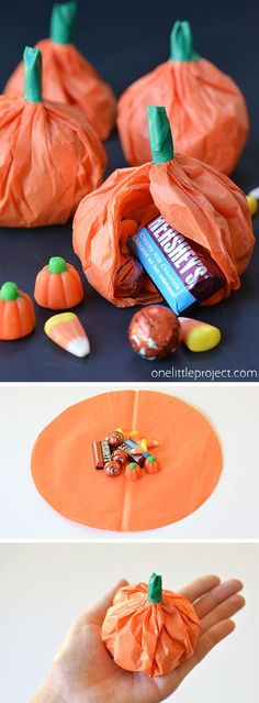 Easy Tissue Paper Pumpkin Favours - - These tissue paper pumpkin favours are a great treat to send to school on Halloween or they make super cute party favours! Use them for any fall occasion!