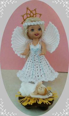 """Crochet Clothes White Xmas Angel Outfit for 4 ½"""" Kelly & same sized dolls   