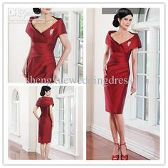 Buy cheap 2013 Elegant Portrait Collar Asymmetrical Ruched Brooch Knee Length Mother Of The Bride Dresses with $85.12-95.2/Piece|DHgate