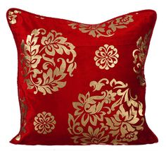 Decorative Red Pillow Case Velvet Pillow Cover Throws For Sofa Damask Pattern Contemporary Home Decor Pillow - Gold Charming Gold Pillows, Velvet Pillows, Accent Pillows, Sofa Throw, Throw Pillow Covers, Red Decorative Pillows, Gold Home Decor, Faux Suede Fabric, Gold Print