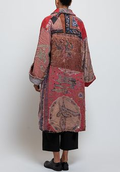 By Walid Liza Chinese Panel Coat in Red Multi Fashion Collage, Fashion Art, Retro Fashion, Boho Fashion, Womens Fashion, Europe Packing, Traveling Europe, Backpacking Europe, Packing Lists