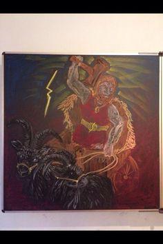 tekening van mijn collega Daphne. Thor op zijn bokkenwagen.