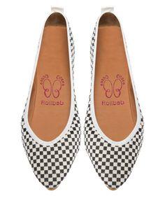 Rollbab White Checkerboard ClassyRoll Ballet Flat by Rollbab #zulily #zulilyfinds
