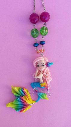 Necklace Mermaid in fimo polymer clay by Artmary2 on Etsy
