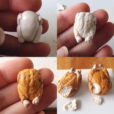 Miniature Roast Chicken for Dollhouse decor. And that, my friends, is how to make vegan chicken Sculpey Clay, Polymer Clay Crafts, Barbie Food, Doll Food, Diy Fimo, Diy Clay, Miniature Crafts, Miniature Food, Diy Stamps