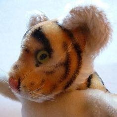 Vintage Steiff Hand Puppet - Steiff Striped Tiger Puppet - Vintage Mohair Puppet…