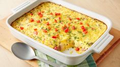 Breakfast + Brunch: Overnight Egg Bake ~ an easy breakfast casserole. Spend 30 minutes assembling the ingredients the night before, store it overnight in the fridge and pop it into the oven the next morning. Overnight Breakfast Casserole, Breakfast Bake, Make Ahead Breakfast, Breakfast Dishes, Breakfast Recipes, Breakfast Ideas, Egg Dishes For Brunch, Frozen Breakfast, Egg Recipes