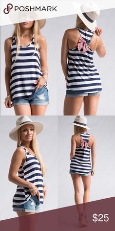 American Flag bow back tank American Flag 🇺🇸 bow back striped tank. 96% rayon, 4% spandex. Made in the USA! Perfect for 4th of July. Bundle and save! Tops Tank Tops