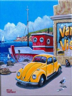 Yellow Beetle Car Painting, Silk Painting, List Of Paintings, Decoupage Art, Love Illustration, Dream Vacations, Dream Big, Beetle, Wall Murals
